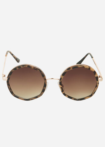 Contrast Round Sunglasses Tort - Accessories