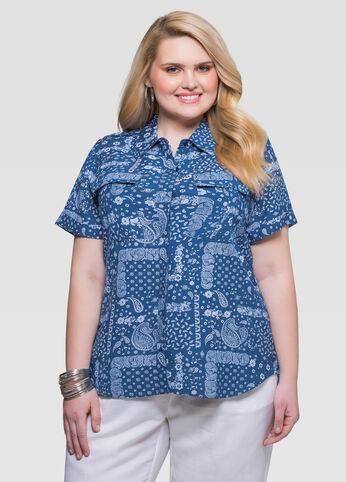 Printed Linen Camp Shirt