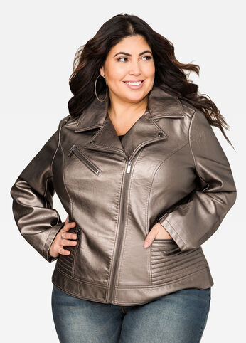Metallic Faux Leather Moto Jacket