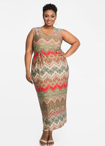 Print V-Neck Tie Waist Maxi Dress