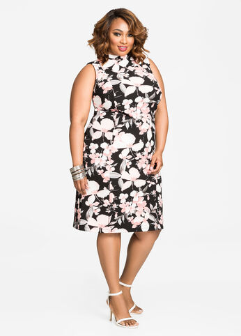 Mock Neck Floral Sheath Dress