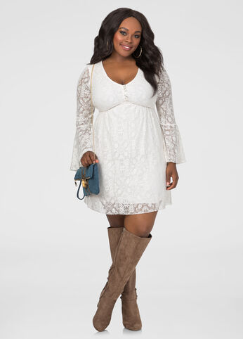 Allover Lace Bell Sleeve Dress