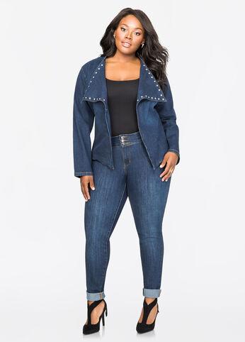 Dark Wash Rhinestone Stud Skinny Jean