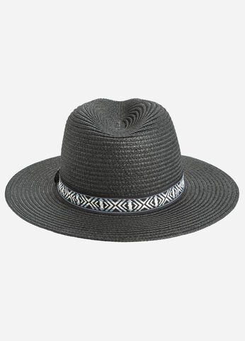 Woven Panama Hat with Tribal Band