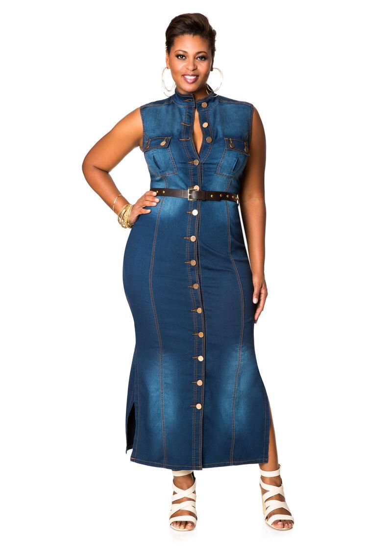 Belted denim maxi dress plus size dresses ashley stewart for Ashley stewart wedding dresses