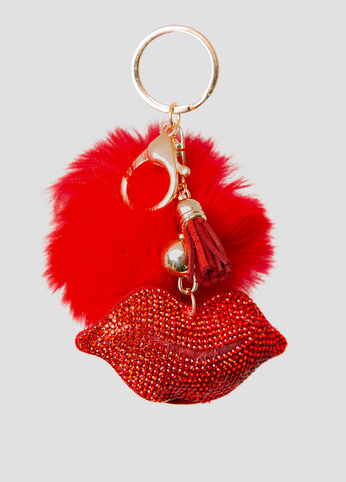 Hot Lips Pom Handbag Charm