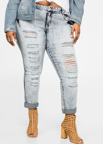 Ripped Acid Wash Skinny Jeans Medium Blue - Extended Sizes 28 - 32
