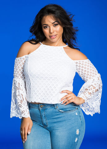 Geo Lace Overlay Cold Shoulder Bell Sleeve Top