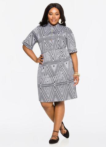 Geo Print Shirt Dress