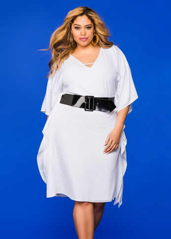 Wide Patent Belt Kimono Dress