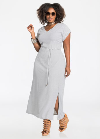 Stripe V-Neck T-Shirt Maxi Dress