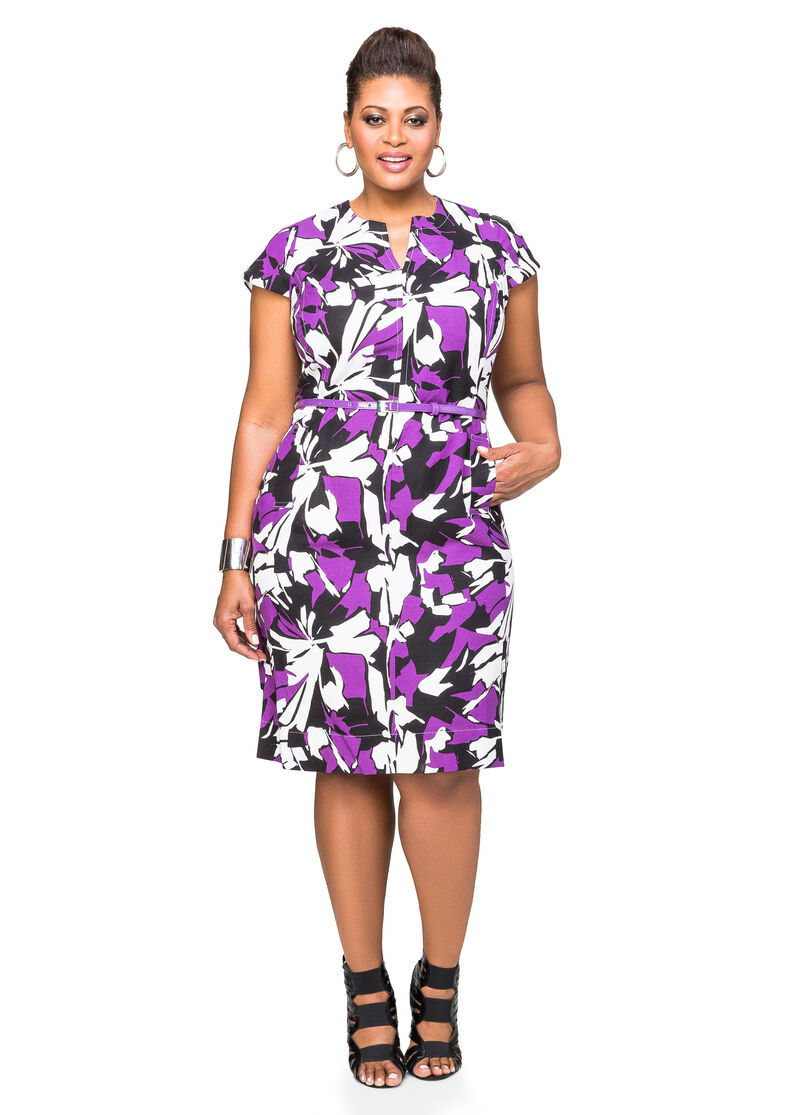 Belted floral linen dress plus size dresses ashley stewart for Ashley stewart wedding dresses