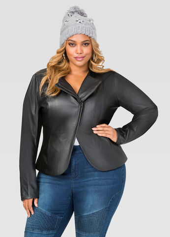 Asymmetrical Faux Leather Jacket