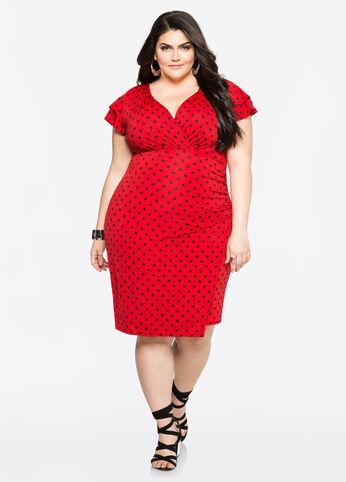 Double Ruffle Polka Dot Dress Barbados Cherry - Dresses