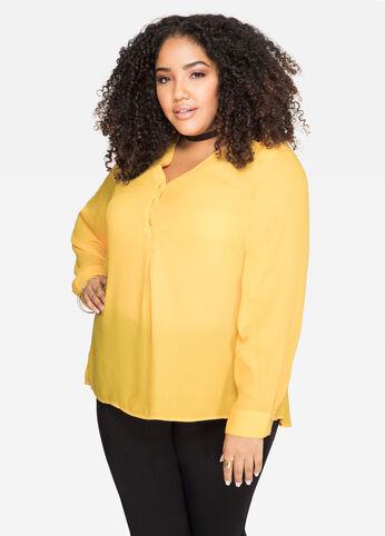 Split Back Tunic Blouse Citrus - Shirts
