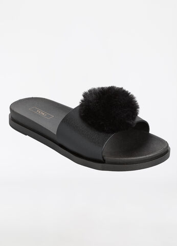 Oversize Fur Pom Slide Sandal - Medium Width