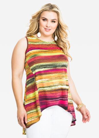 Striped Hi-Lo Top