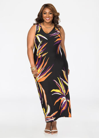 Tropical Print V-Neck Maxi Dress Black Combo - Dresses
