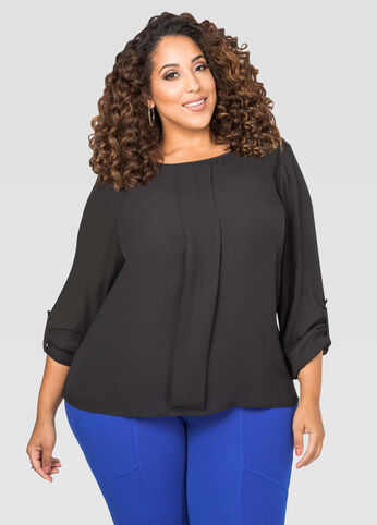 Box Pleat Hi-Lo Blouse