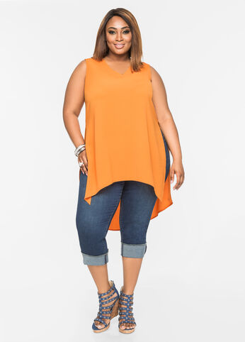 Hi-Lo Textured V-Neck Blouse Orange Ochre - Tops