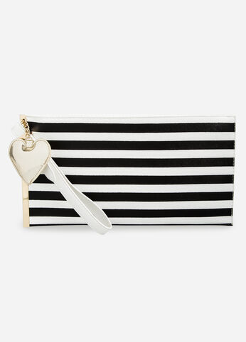 Striped Wristlet with Heart Charm Black White - Accessories
