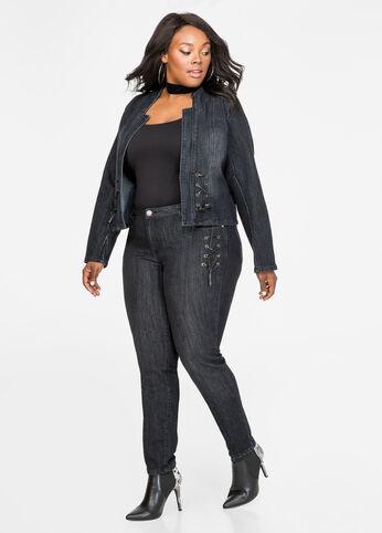 Black Rinse Lace-Up Skinny Jean