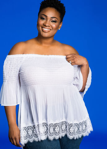 Smocked Off-Shoulder Chiffon Top