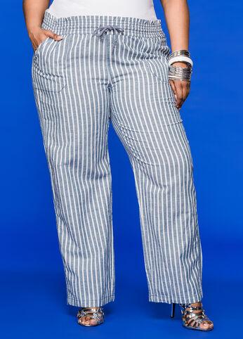 Striped Drawstring Linen Pant Multi - Bottoms