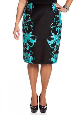 Mirror Floral Print Pencil Skirt