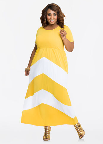 Chevron Pattern Cap Sleeve Maxi Dress