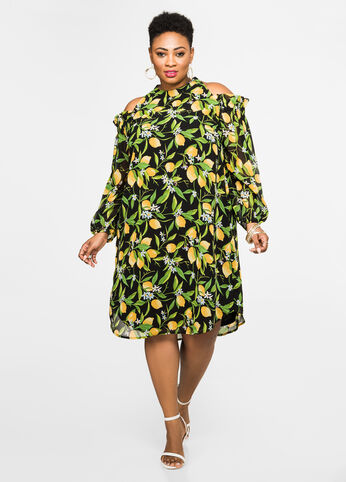 Lemon Print Cold Shoulder Dress