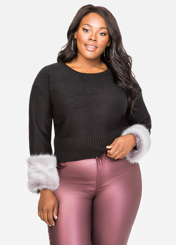 Faux Fur Cuff Sweater