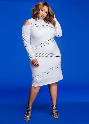 Studded Cold Shoulder Mockneck Dress