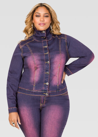 Stand Collar Purple Wash Jean Jacket Plum Purple - Clearance