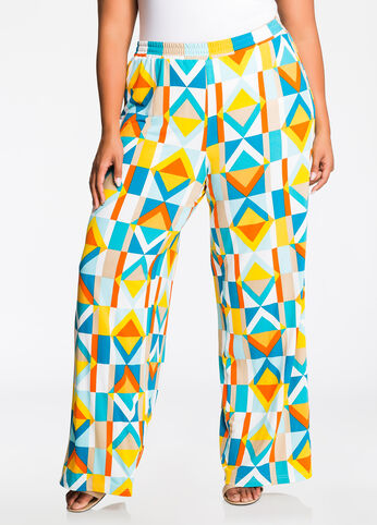 Bright Geo Print Wide Leg Pants