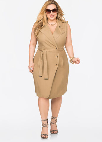 Belted Linen Wrap Dress