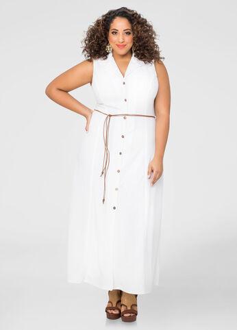 A-Line Button Front Maxi Dress