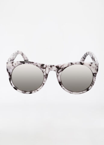 Marble Style Round Frame Sunglasses Black White - Accessories