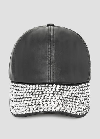 Stud Brim Faux Leather Baseball Cap
