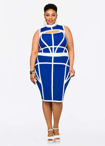 Contrast Peekaboo Bandage Dress