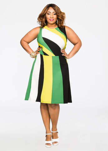 Bold Stripe Skater Dress Medium Green - Dresses