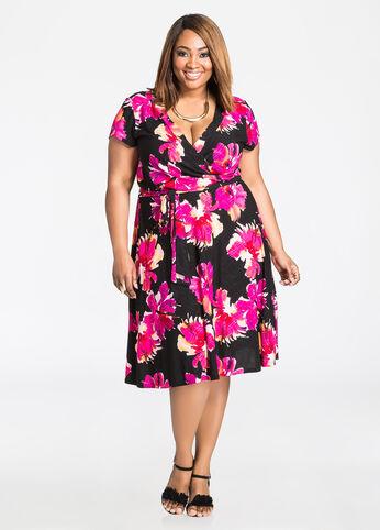 Surplice Front Colorful Floral Dress