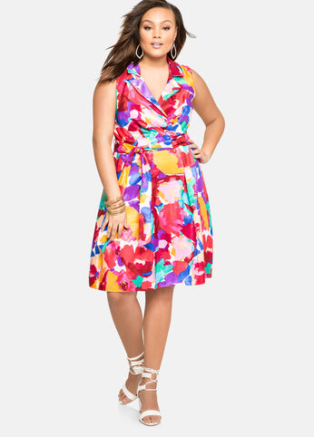 Watercolor Sateen Belted Dress