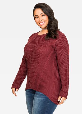 Crew Neck Raglan Shaker Sweater