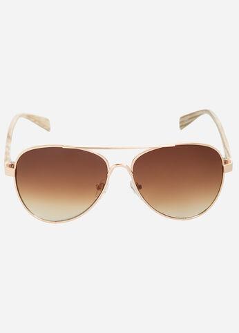 Wooden Temple Aviator Sunglasses