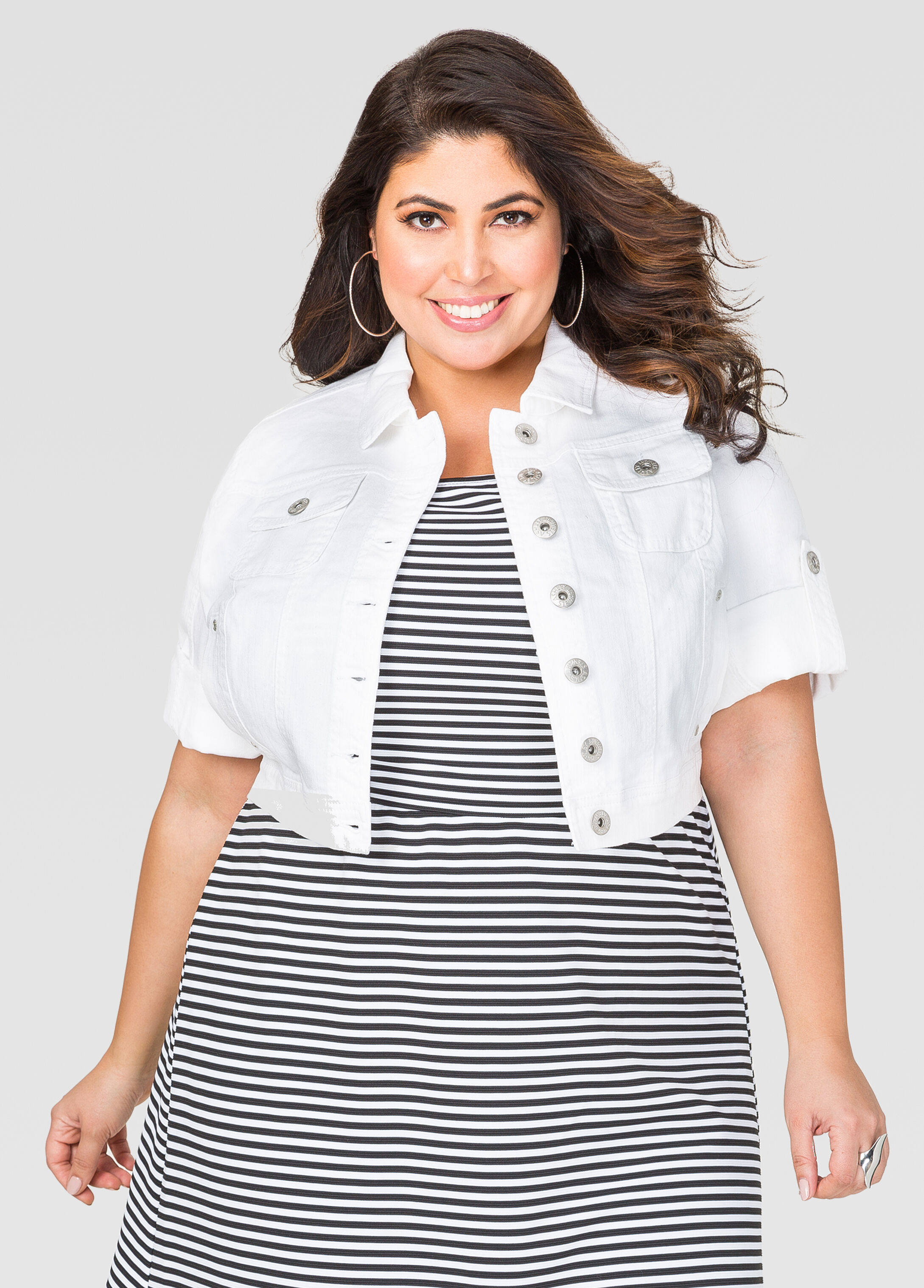 Cropped 3/4 Sleeve Jean Jacket-Plus Size Jeans-Ashley Stewart-034 ...