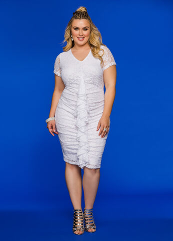 Ruffle Front Lace Dress White - Clearance