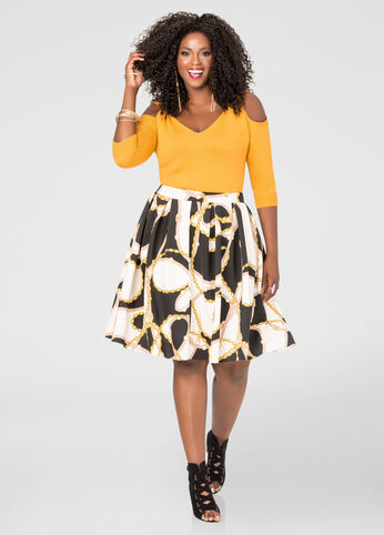Status Print Box Pleat Skirt