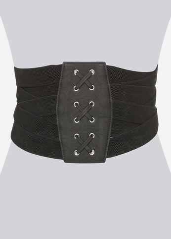 Criss Cross High Waist Corset Belt Black - Clearance