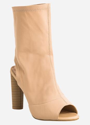 Heel Cutout Open Toe Booties - Wide Width